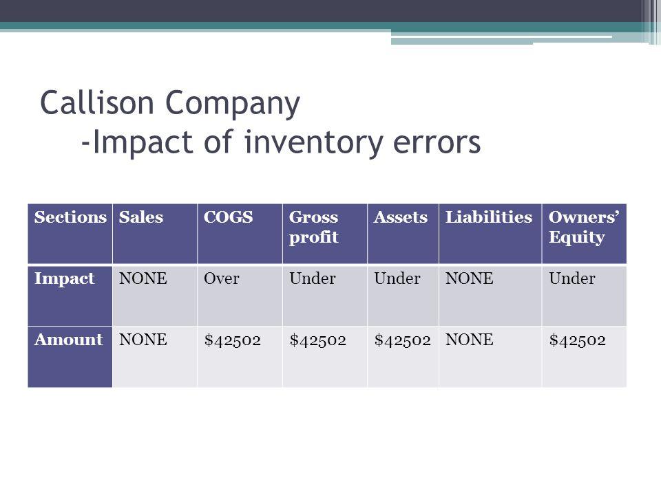 Callison Company -Impact of inventory errors