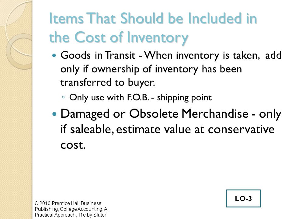 Items That Should be Included in the Cost of Inventory