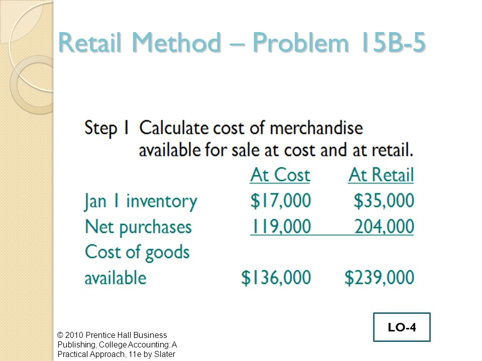 Retail Method – Problem 15B-5
