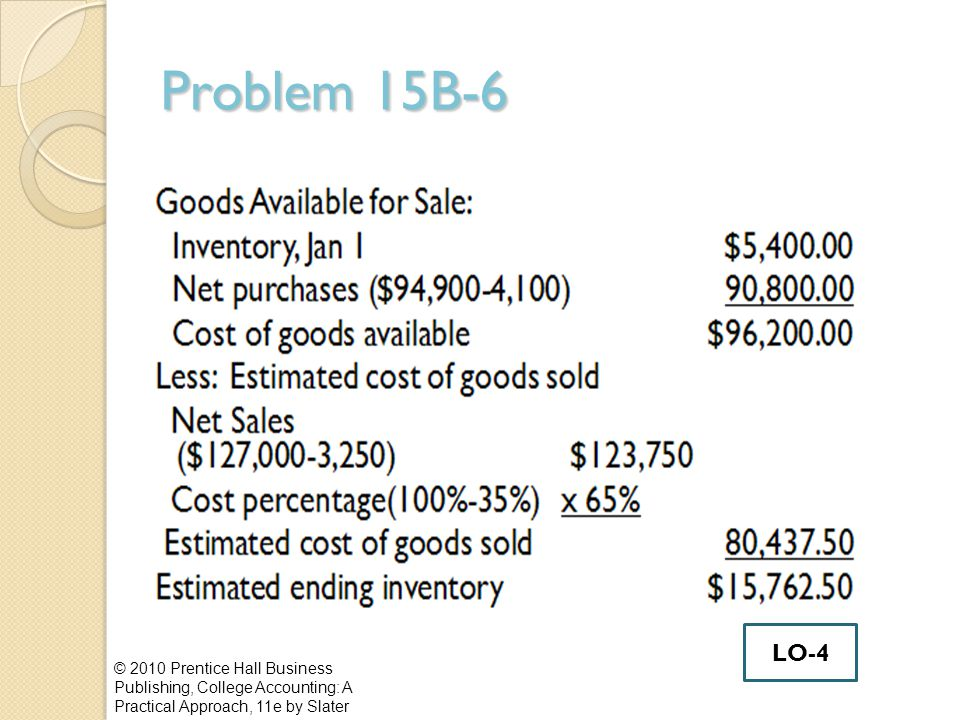 Problem 15B-6 LO-4.