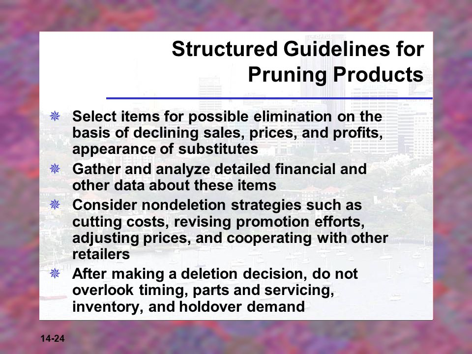Structured Guidelines for Pruning Products