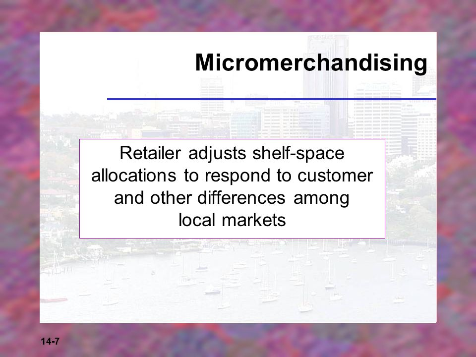 Micromerchandising Retailer adjusts shelf-space allocations to respond to customer and other differences among local markets.
