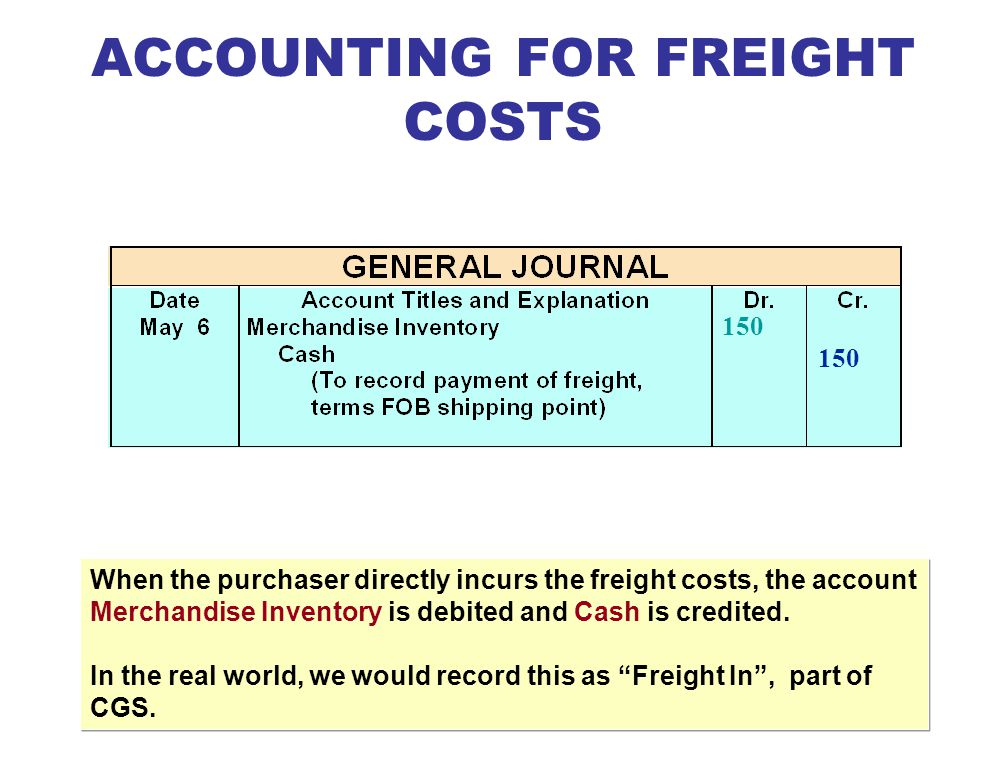 ACCOUNTING FOR FREIGHT COSTS
