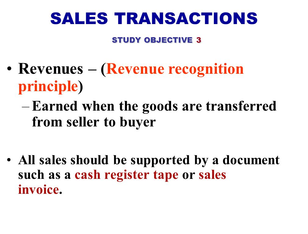 SALES TRANSACTIONS STUDY OBJECTIVE 3
