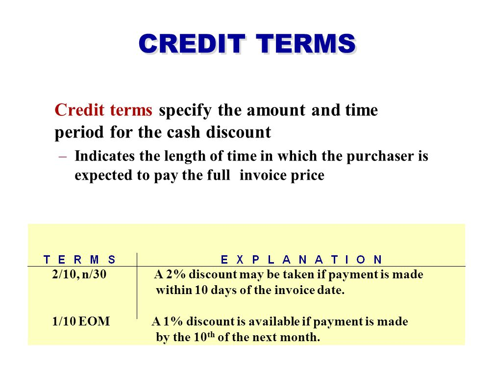 CREDIT TERMS Credit terms specify the amount and time period for the cash discount.