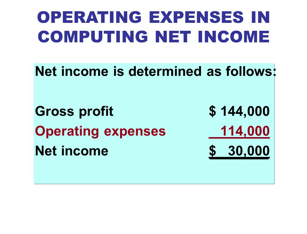 OPERATING EXPENSES IN COMPUTING NET INCOME
