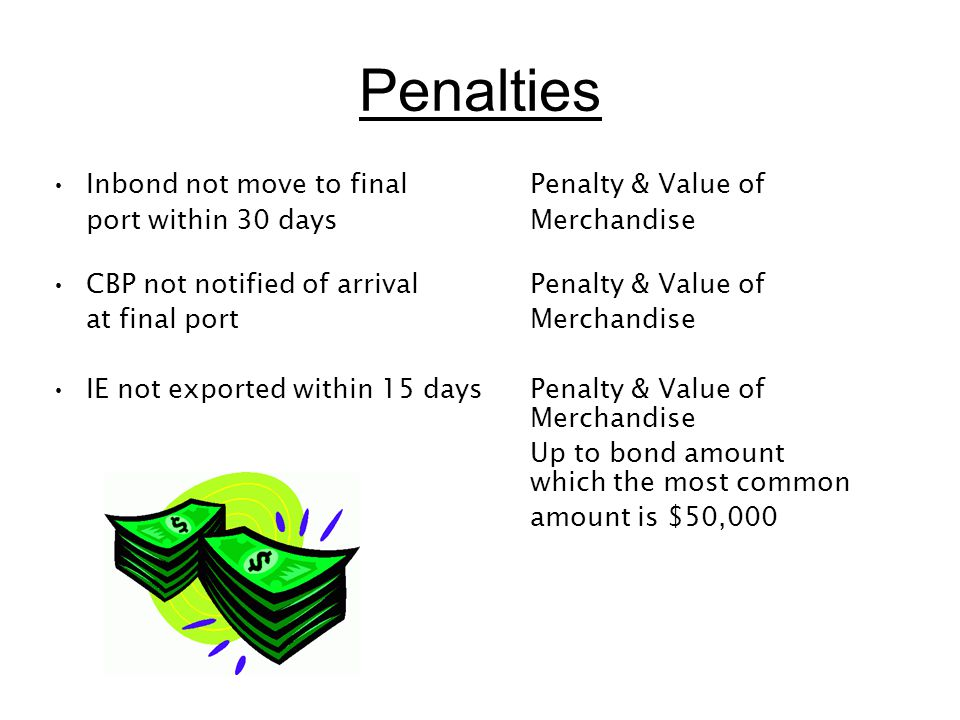 Penalties Inbond not move to final Penalty & Value of