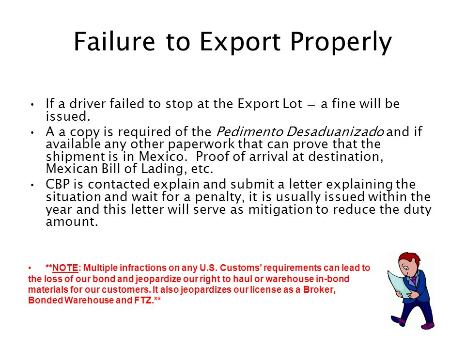 Failure to Export Properly