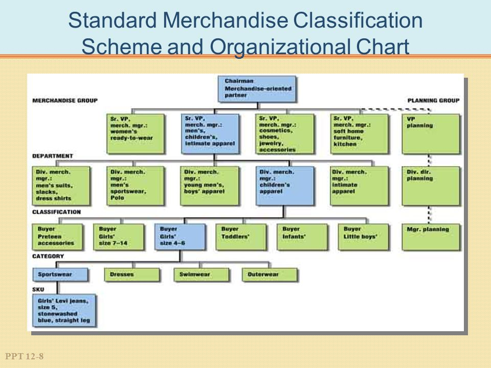 Standard Merchandise Classification Scheme and Organizational Chart