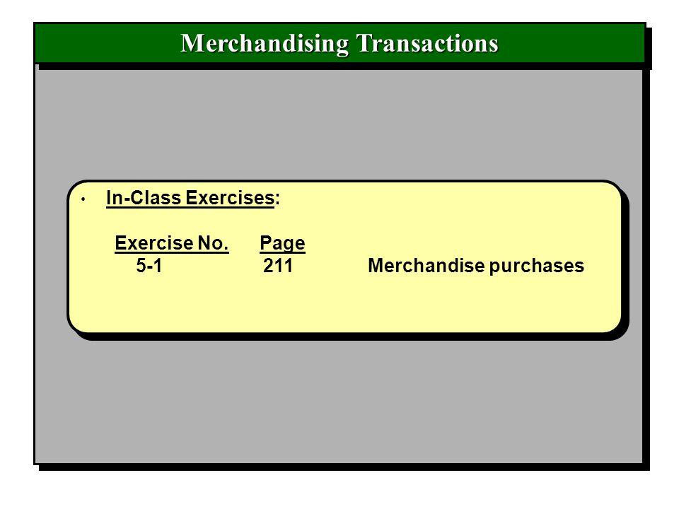 Merchandising Transactions