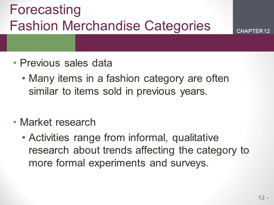Forecasting Fashion Merchandise Categories