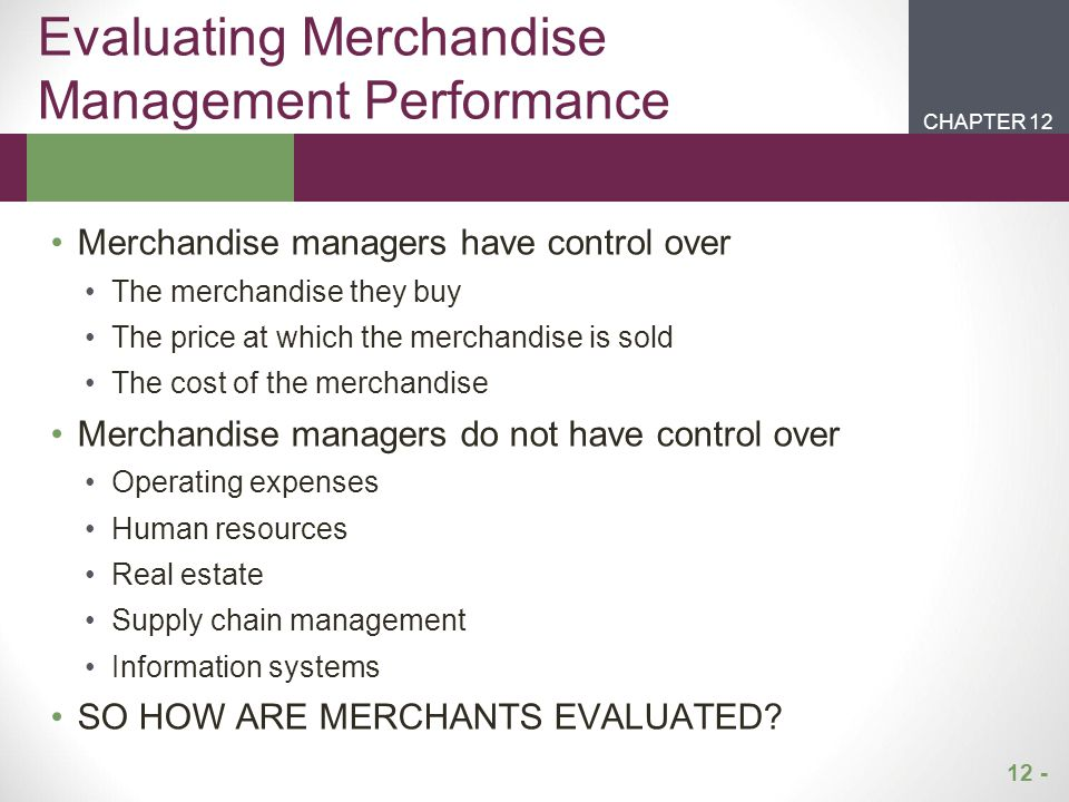 Evaluating Merchandise Management Performance