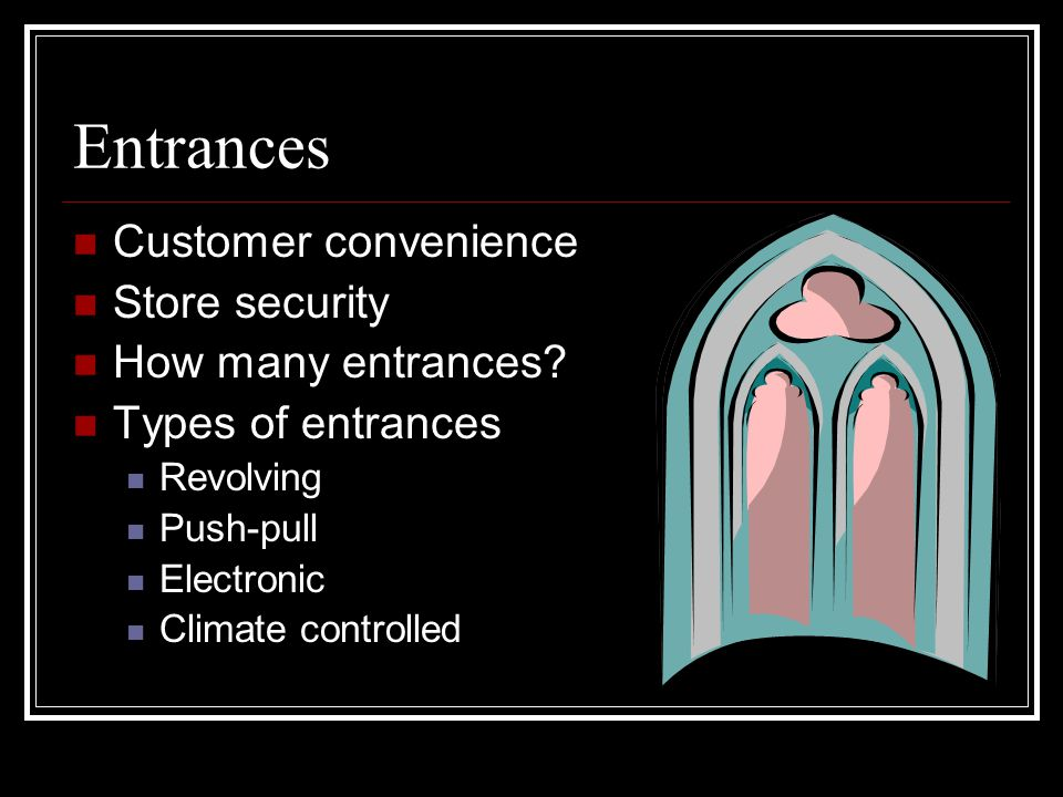 Entrances Customer convenience Store security How many entrances
