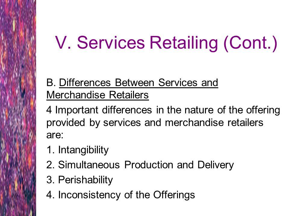 V. Services Retailing (Cont.)