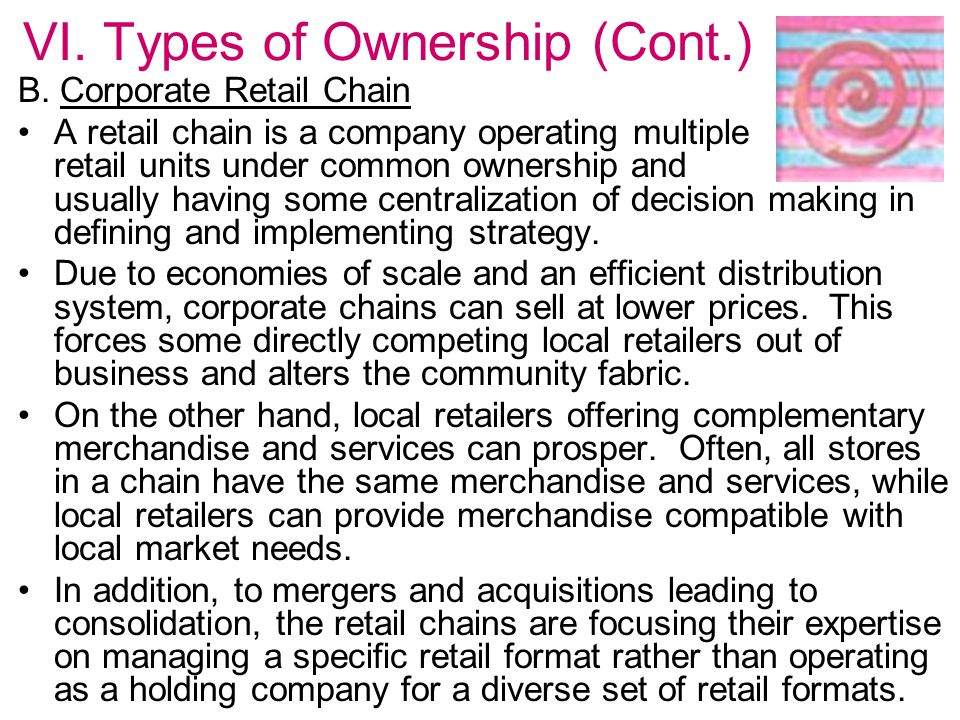 VI. Types of Ownership (Cont.)