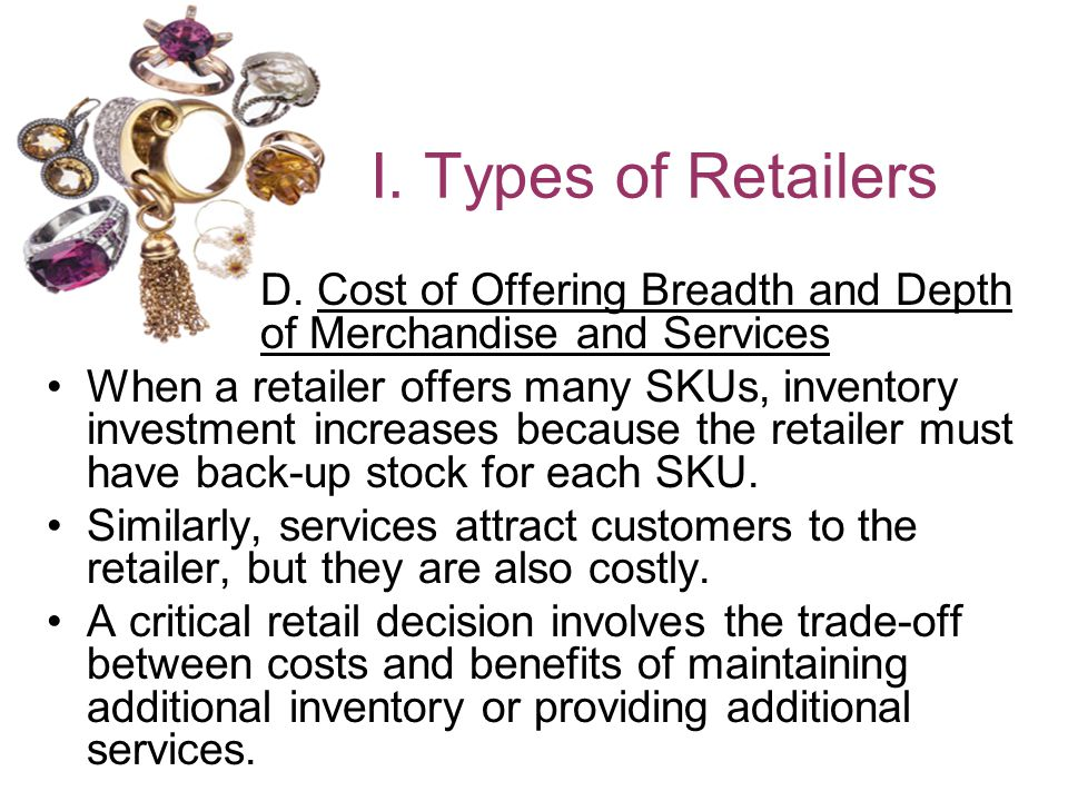 I. Types of Retailers D. Cost of Offering Breadth and Depth of Merchandise and Services.