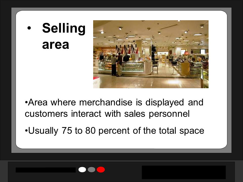 Selling area Area where merchandise is displayed and customers interact with sales personnel.