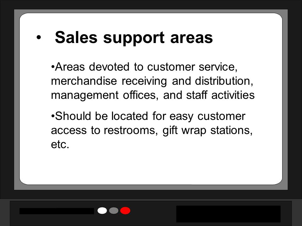 Sales support areas Areas devoted to customer service, merchandise receiving and distribution, management offices, and staff activities.