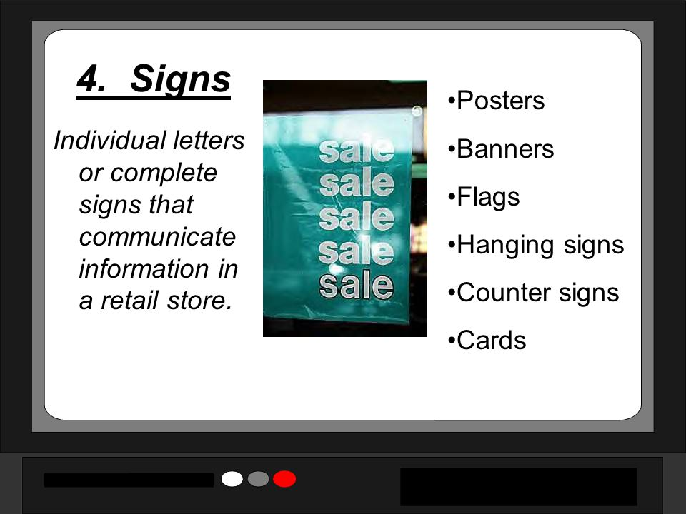 4. Signs Posters Banners Flags Hanging signs Counter signs Cards