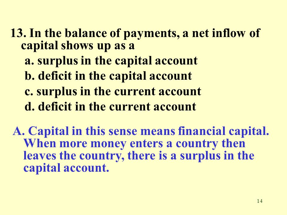 13. In the balance of payments, a net inflow of capital shows up as a