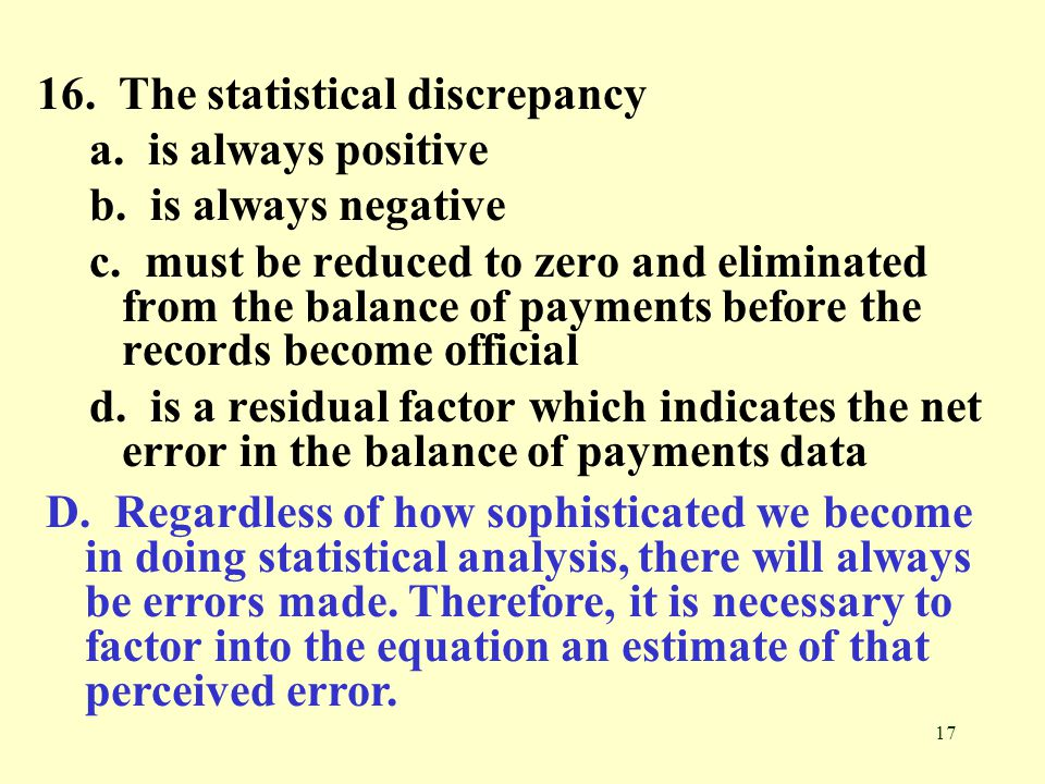 16. The statistical discrepancy