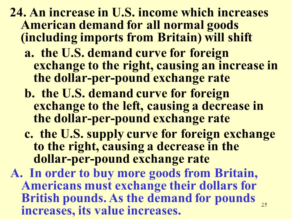 24. An increase in U.S. income which increases American demand for all normal goods (including imports from Britain) will shift
