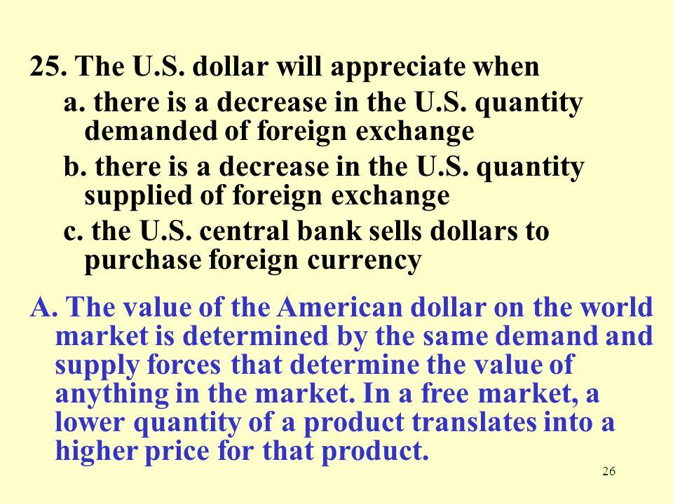 25. The U.S. dollar will appreciate when