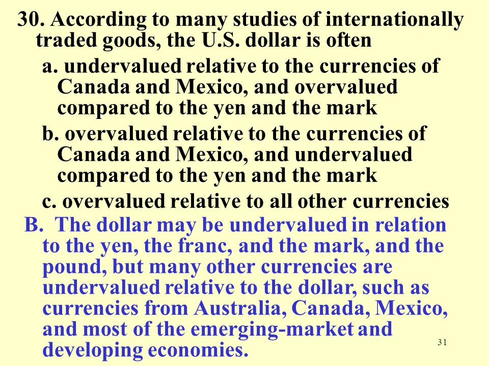 30. According to many studies of internationally traded goods, the U.S. dollar is often