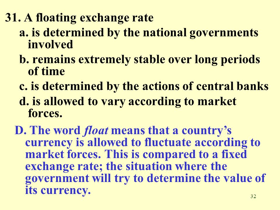 31. A floating exchange rate