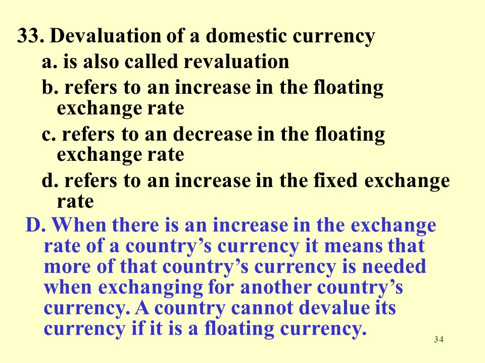 33. Devaluation of a domestic currency