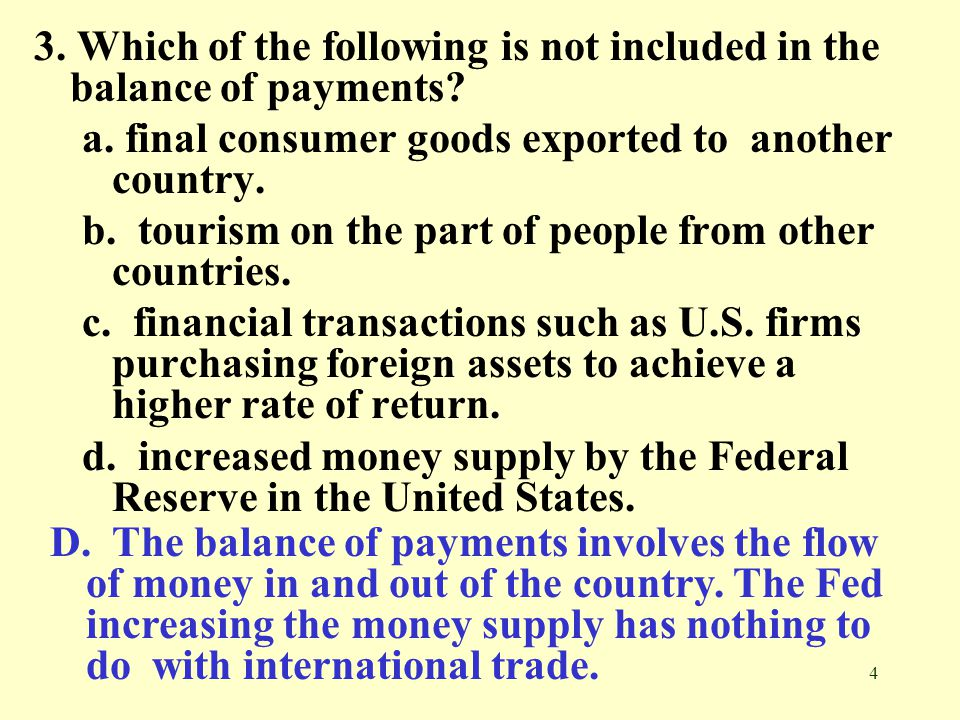 3. Which of the following is not included in the balance of payments