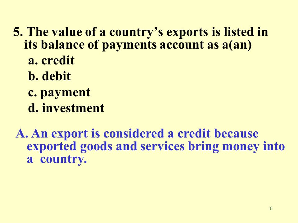 5. The value of a country's exports is listed in its balance of payments account as a(an)