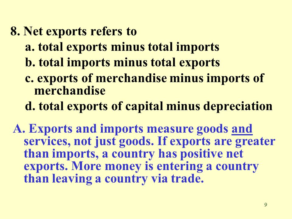 8. Net exports refers to a. total exports minus total imports. b. total imports minus total exports.