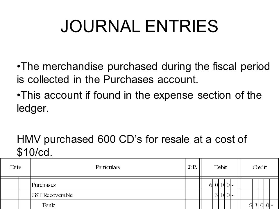 JOURNAL ENTRIES The merchandise purchased during the fiscal period is collected in the Purchases account.