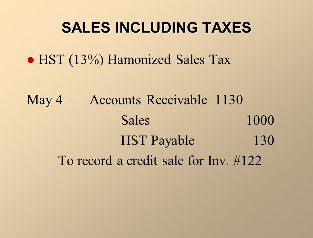 SALES INCLUDING TAXES HST (13%) Hamonized Sales Tax