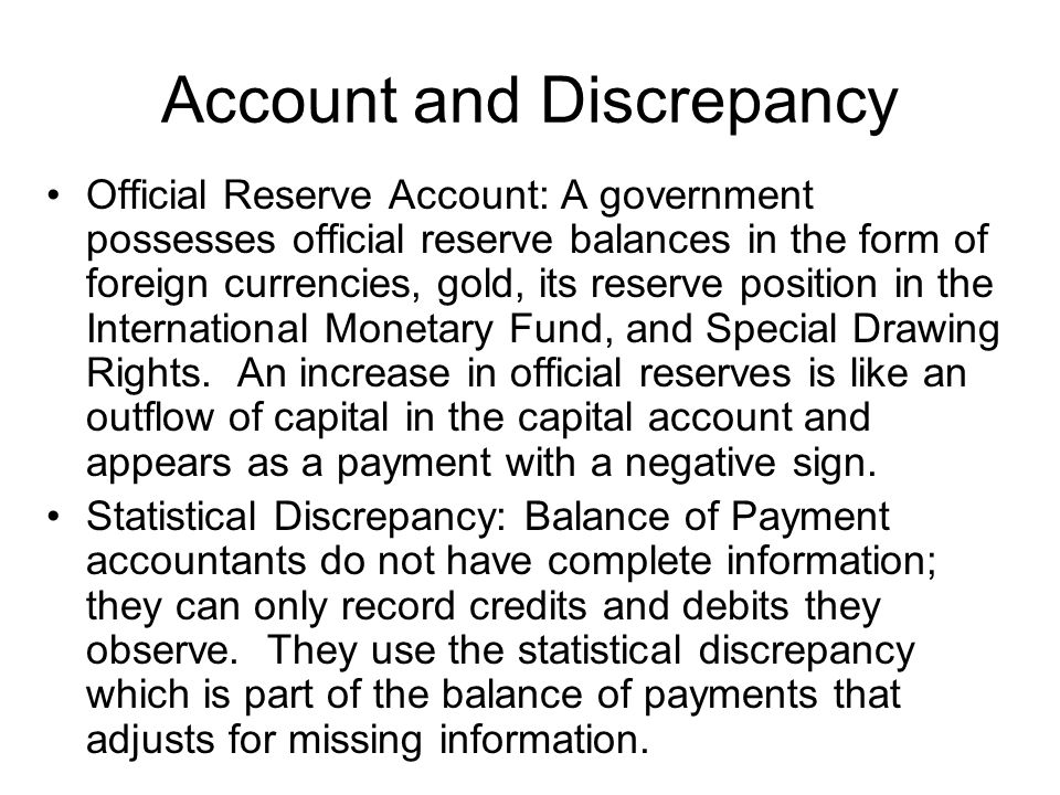 Account and Discrepancy