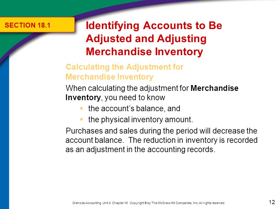 Calculating the Adjustment for Merchandise Inventory