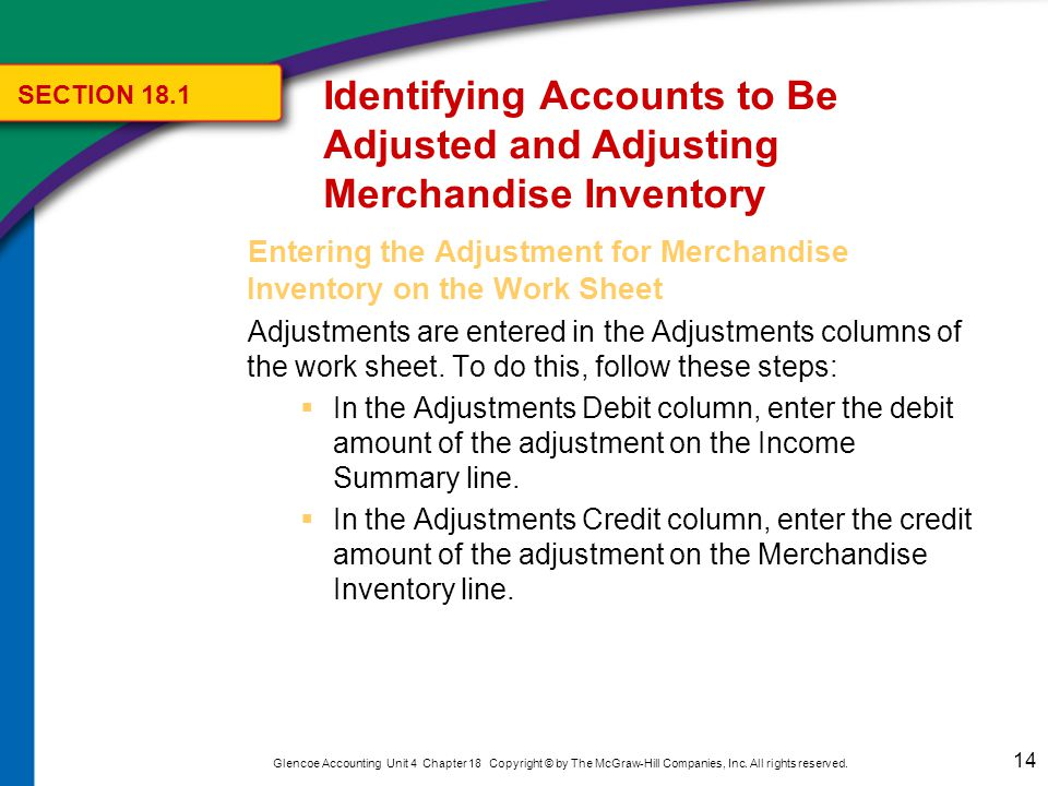 Identifying Accounts to Be Adjusted and Adjusting Merchandise Inventory