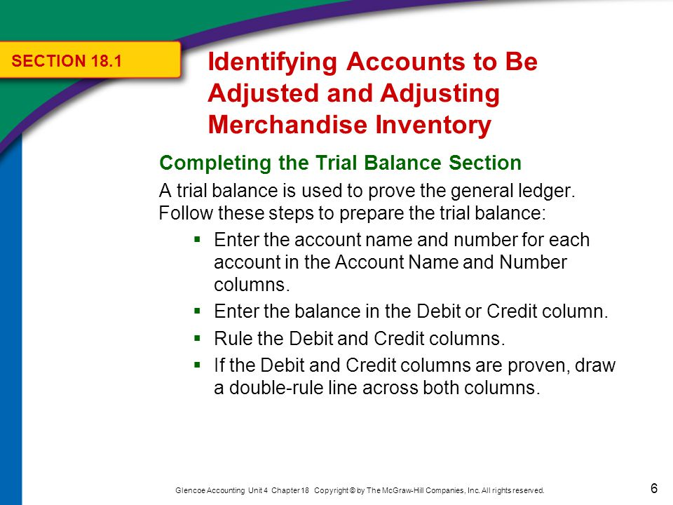 The Trial Balance section of the Work Sheet