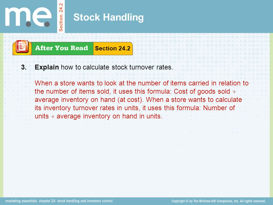 Stock Handling 3. Explain how to calculate stock turnover rates.
