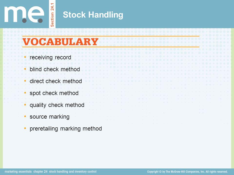 Stock Handling receiving record blind check method direct check method