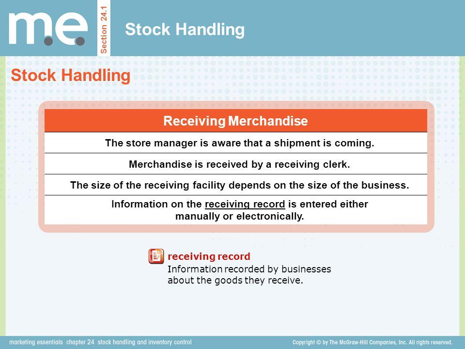 Stock Handling Stock Handling Receiving Merchandise