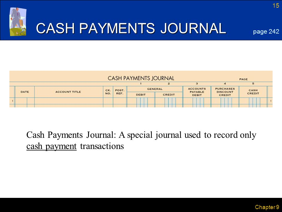 CASH PAYMENTS JOURNAL page 242. Cash Payments Journal: A special journal used to record only cash payment transactions.