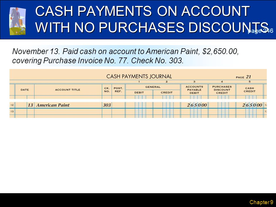 CASH PAYMENTS ON ACCOUNT WITH NO PURCHASES DISCOUNTS