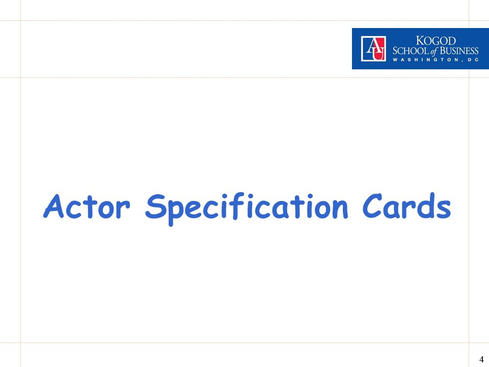 Actor Specification Cards