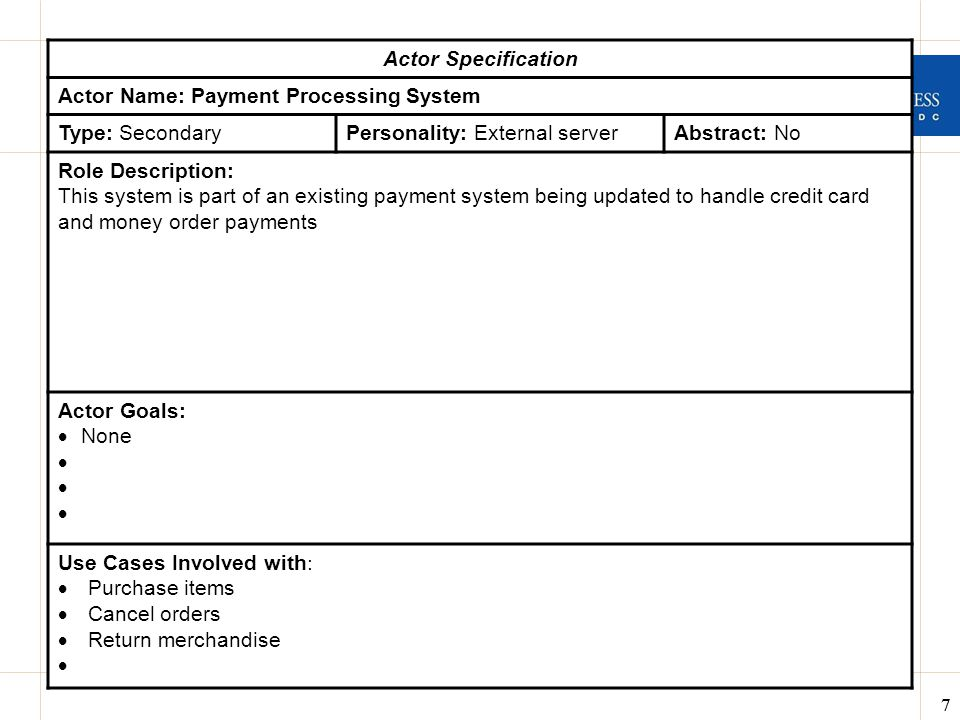 Actor Specification Actor Name: Payment Processing System. Type: Secondary. Personality: External server.
