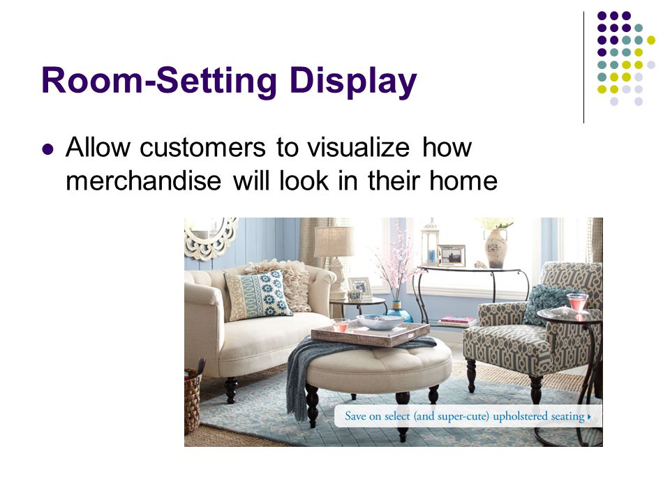 Room-Setting Display Allow customers to visualize how merchandise will look in their home