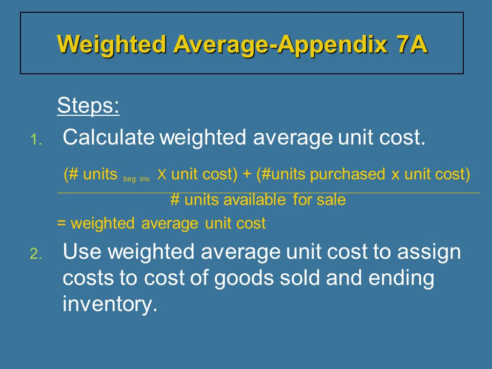 Weighted Average-Appendix 7A