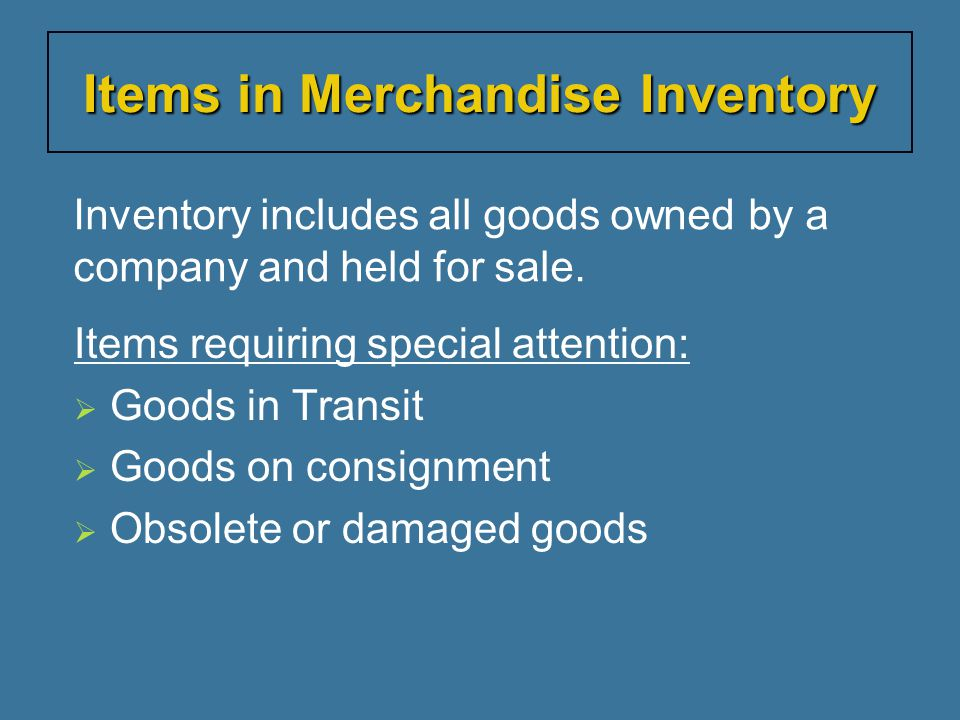 Items in Merchandise Inventory