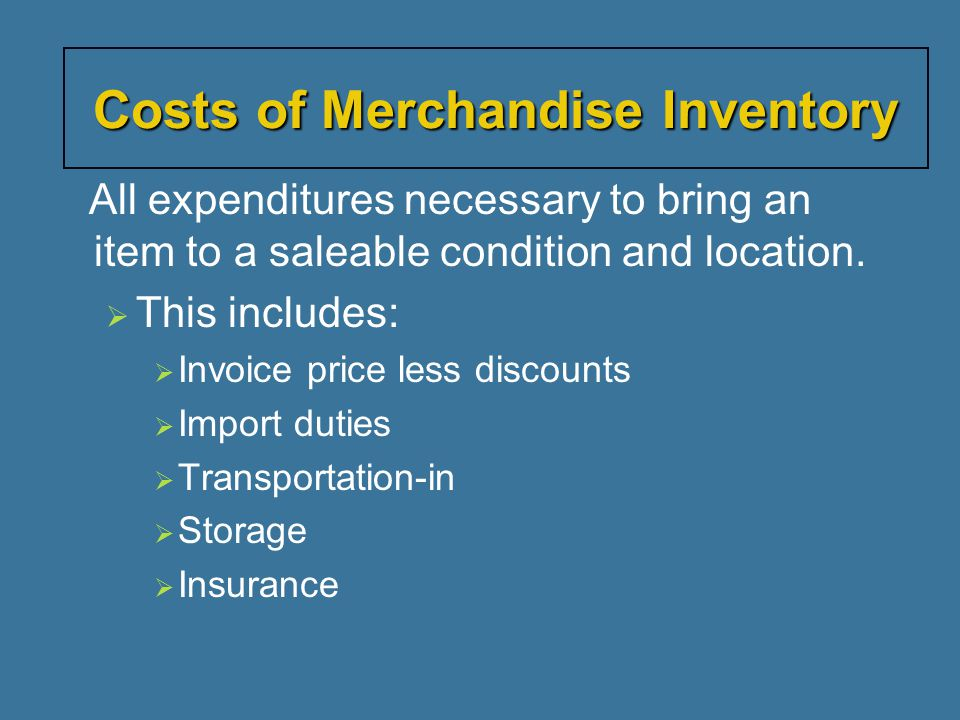 Costs of Merchandise Inventory